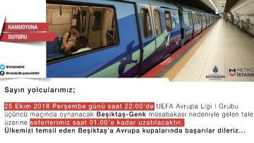 Beşiktaş – Genk maçı sebebiyle  İBB  metro seferlerini uzattı