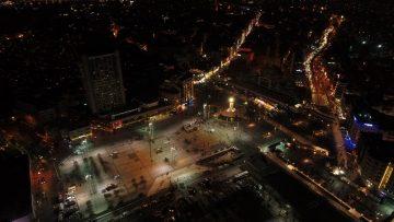 Yeni yıla saatler kala Taksim Meydanı havadan görüntülendi
